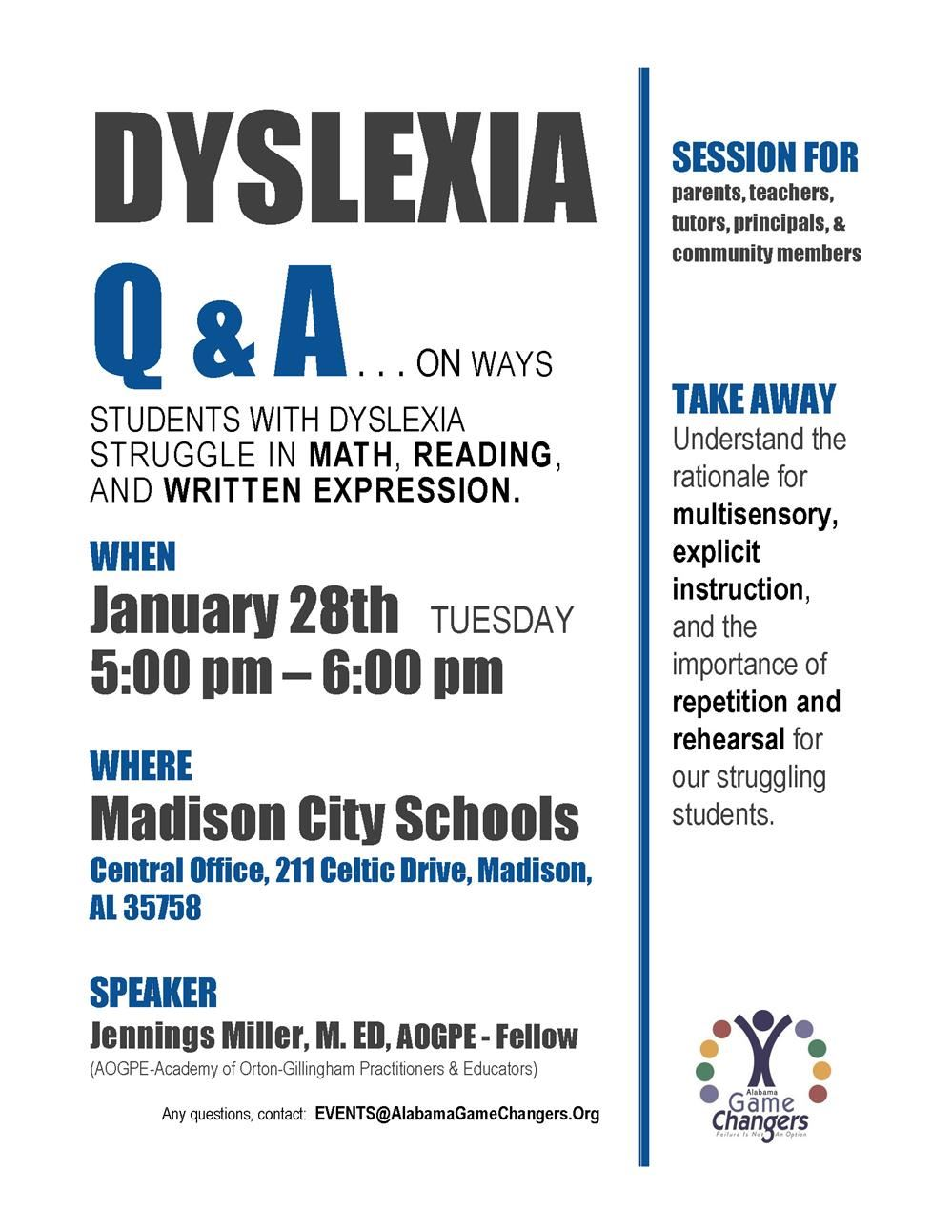 Flyer of Dyslexia Program noting it is Tuesday, January 28 in the Central Office starting at 5 p.m